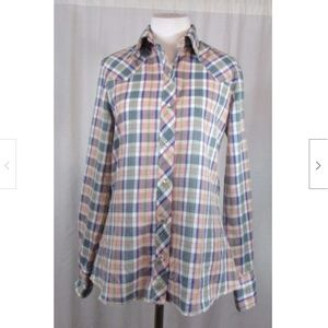 Wrangler Western Plaid Pearl Snap Button Top XS